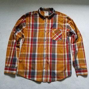 Levi's button up shirt plaid orange blue red L